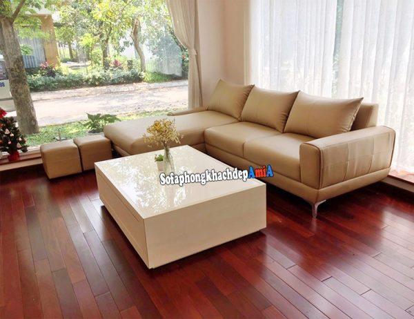 Hình ảnh Sofa da đẹp phòng khách hình chữ L hiện đại