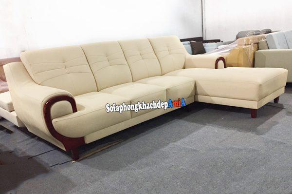 Hình ảnh Sofa da nhập khẩu Hàn Quốc cho phòng khách đẹp thiết kế hình chữ L